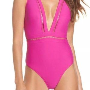 Ted Baker London Pink Pointelle Deep V Swimsuit
